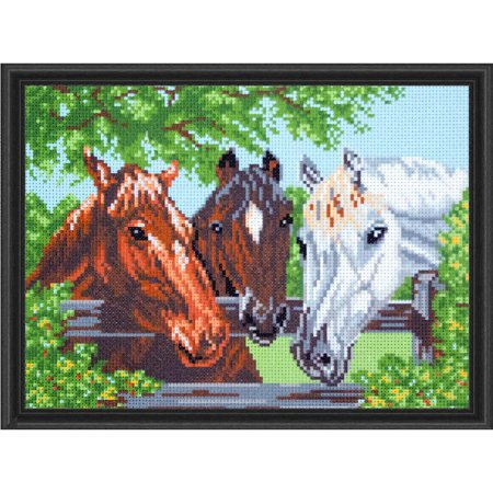 Horse Cross Stitch - Collection D'Art Three Horses Stamped Cross-Stitch