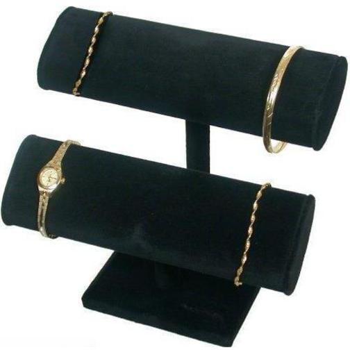 2 Tier Black Velvet T-Bar Bracelet Watch Jewelry Display Stand
