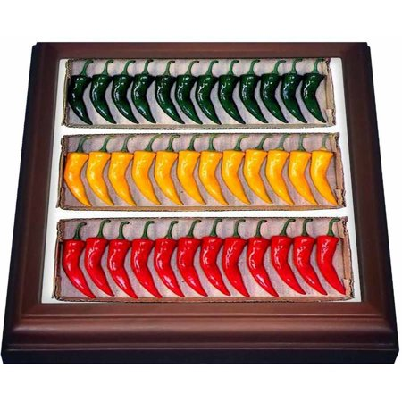 3dRose Chili Pepper, Trivet with Ceramic Tile, 8 by 8-inch