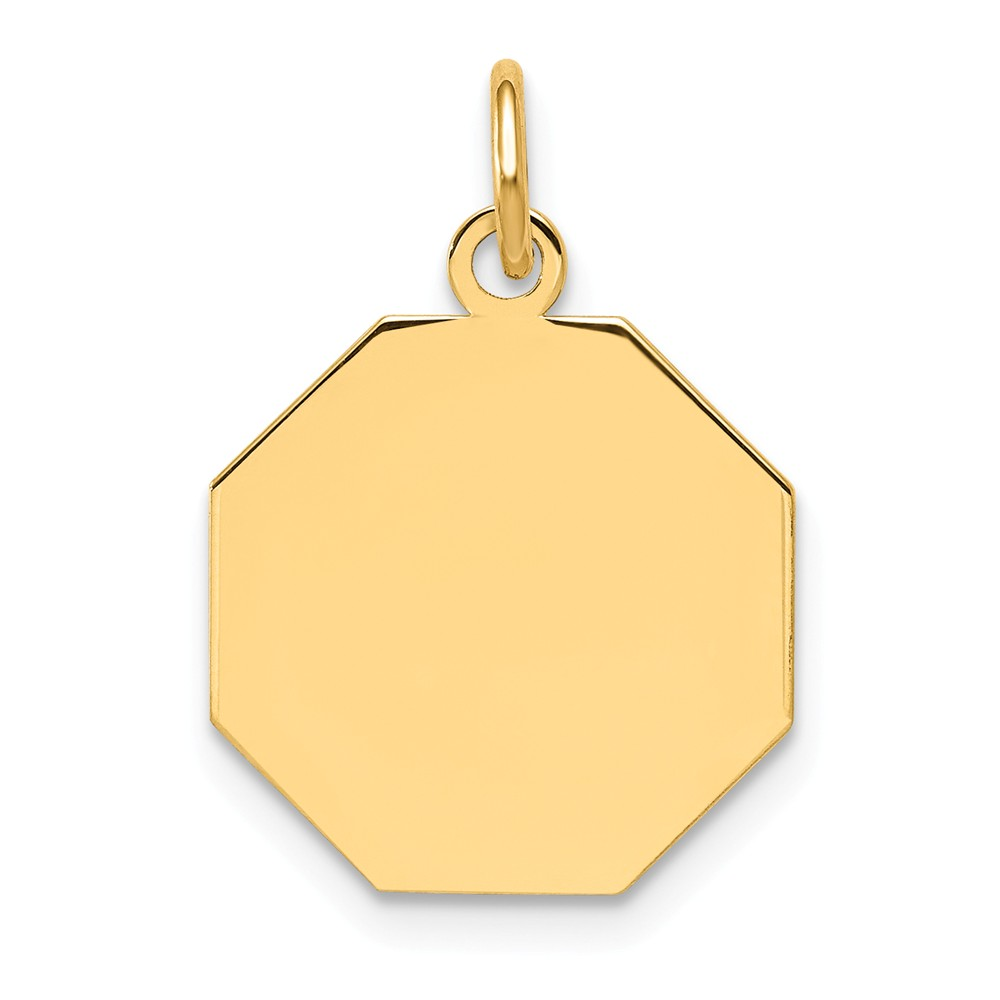 14k Yellow Gold Plain 0.009 Gauge Engravable Octagonal Disc Charm (0.8in long x 0.6in wide)