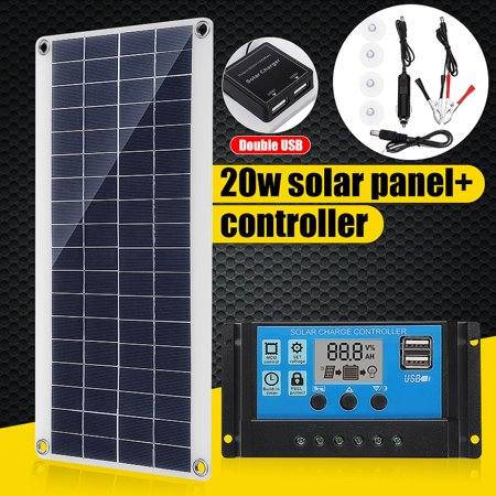20W 12V Portable Solar Panel Charging Double USB Port Camping Traveling TRICKLE Battery Charge Car RV Camp Marine ATV (Best Solar Panel To Charge 12v Battery)