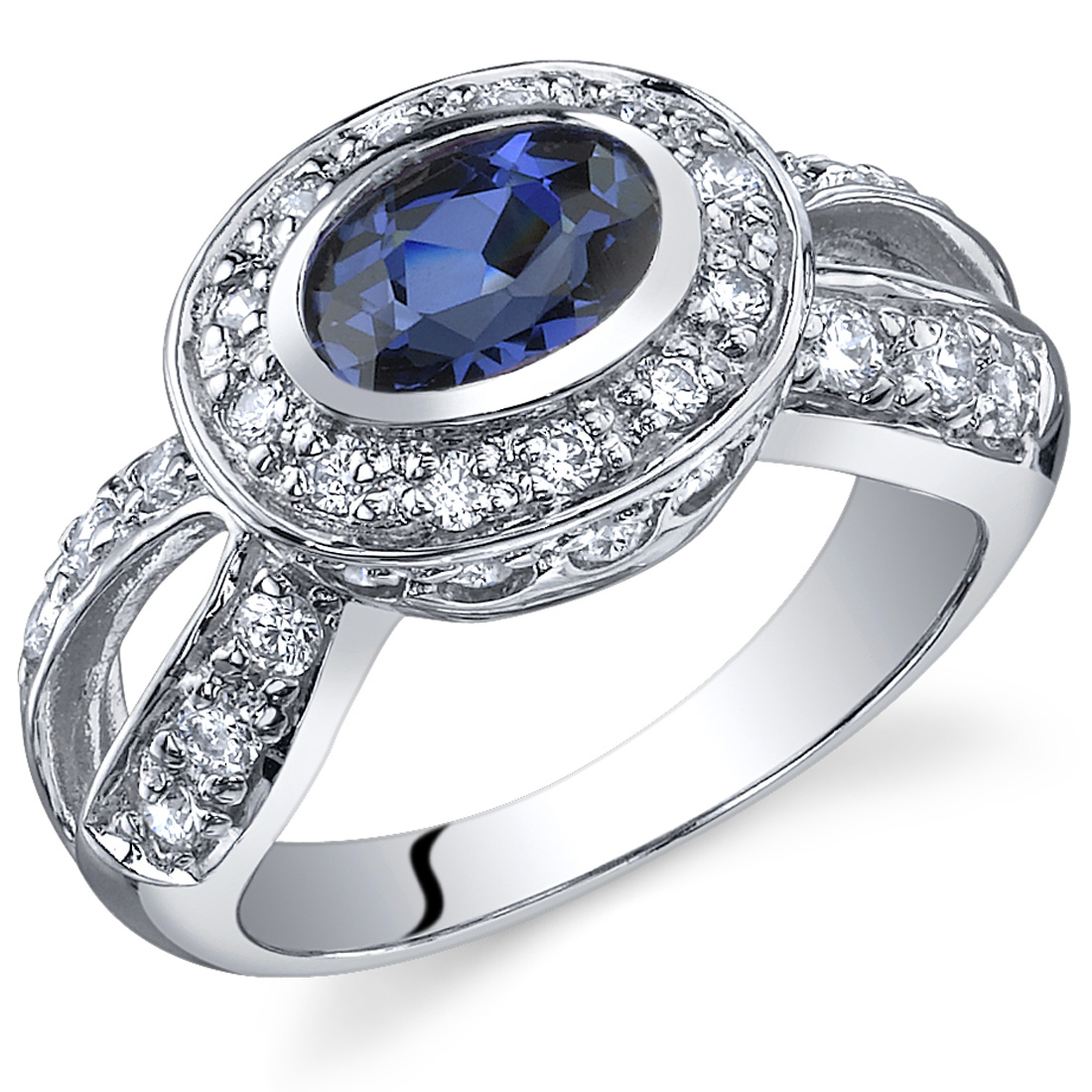 Peora 1.00 Ct Created Blue Sapphire Engagement Ring in Rhodium-Plated Sterling Silver