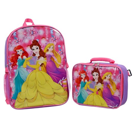 Disney Princess Excellent Girls Backpack with Insulated Lunch Kit 15
