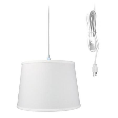 "1-Light Plug In Swag Pendant Ceiling Light White Shade 16""w"