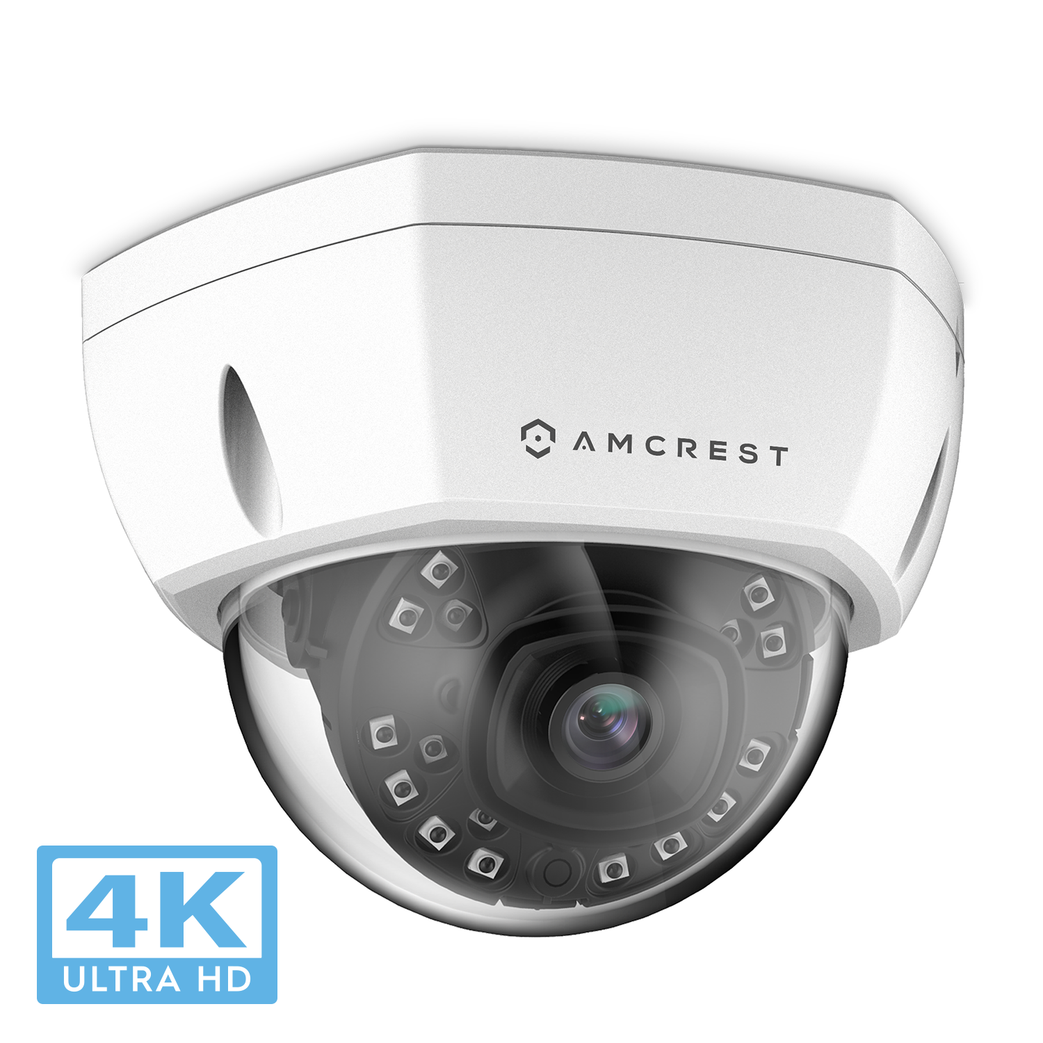 Amcrest UltraHD 4K (8MP) Outdoor Security POE IP Camera, 3840x2160, 98ft NightVision, 2.8mm Lens, IP67 Weatherproof, IK10 Vandal Resistant Dome, MicroSD Recording, White