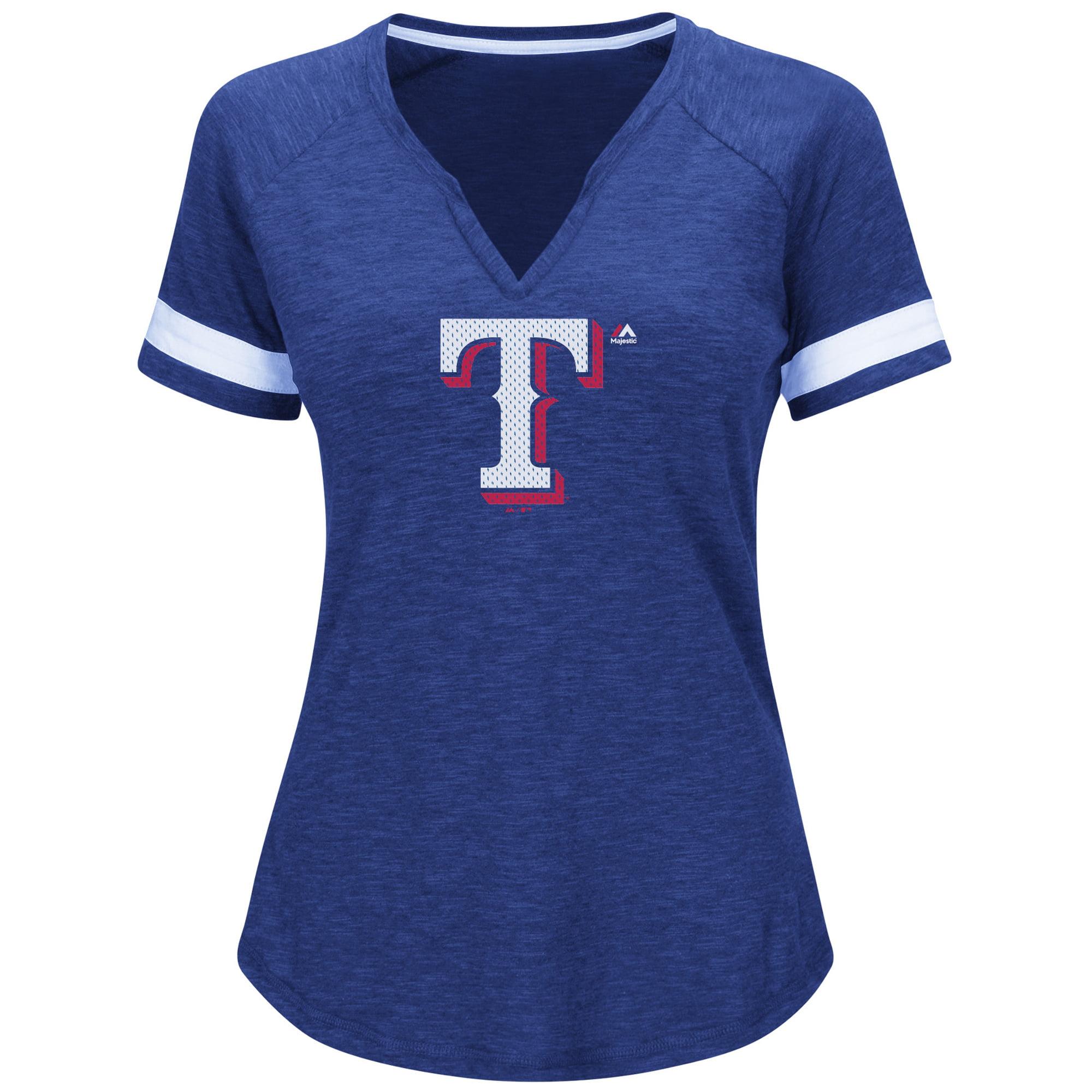 Texas Rangers Majestic Women's Game Stopper Raglan T-Shirt - Royal