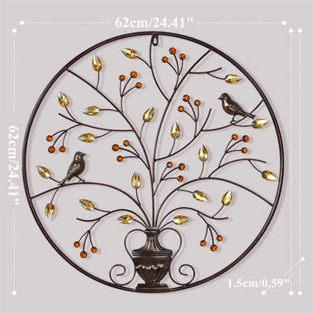 Birds Tree Iron Sculpture Ornament Home Room Wall Hanging Decoration 24'' x 24'' - image 3 de 8