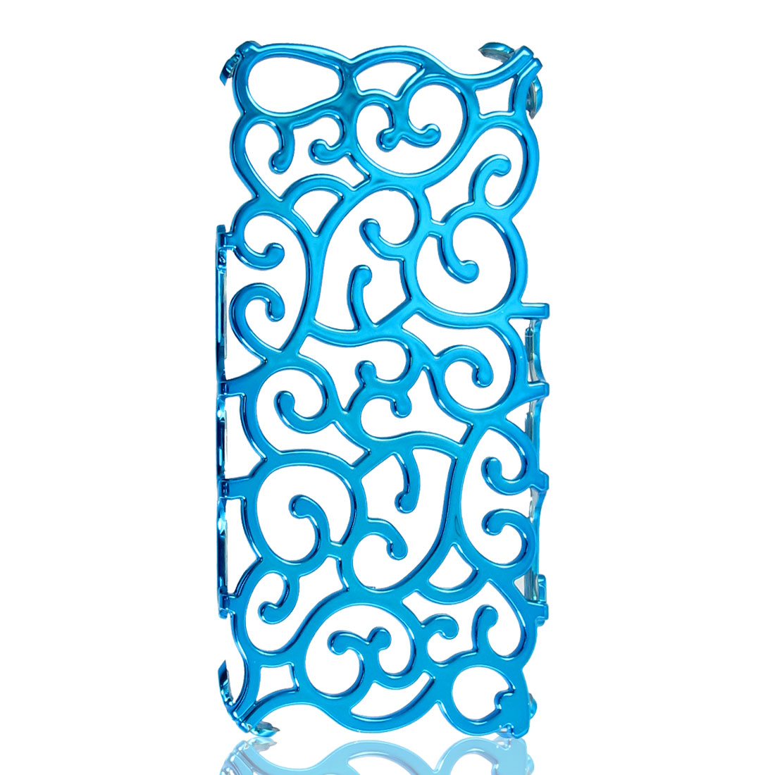 Unique Bargains Hollow Out Palace Flower Teal Blue Hard Back Case Cover for Apple iPhone 5 5G