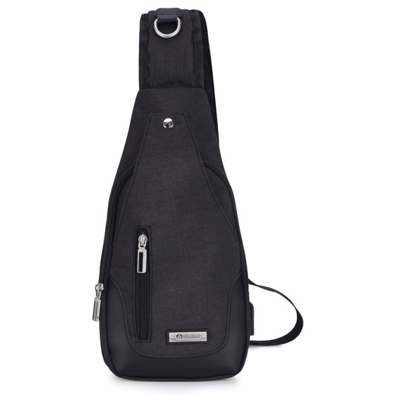 b6f8f329548f VBIGER - Canvas Sling Backpack for Men USB Rechargeable Chest Pack ...