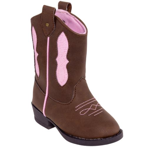 BABY DEER NEW Girls Brown/Pink Walking Stage Cowboy Boots Shoes (8 Toddler)