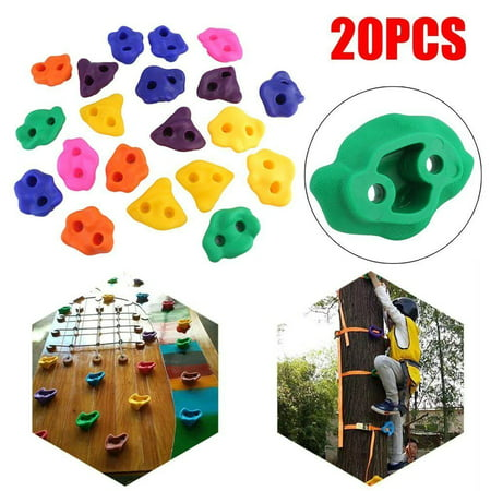 WALFRONT 20Pcs Multi-colour Textured Kids Wall Rock Climbing Holds with Hardware Screw for Children Outdoor Playground