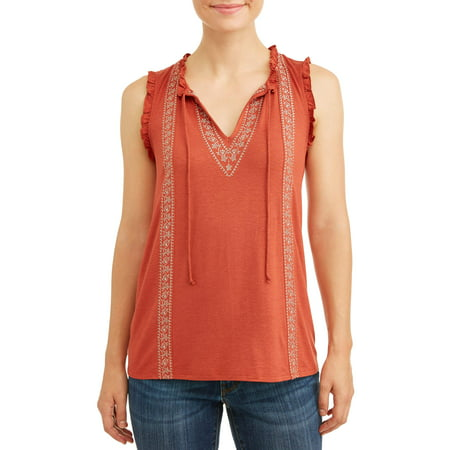 Time and Tru Women's Embroidered Tank Top
