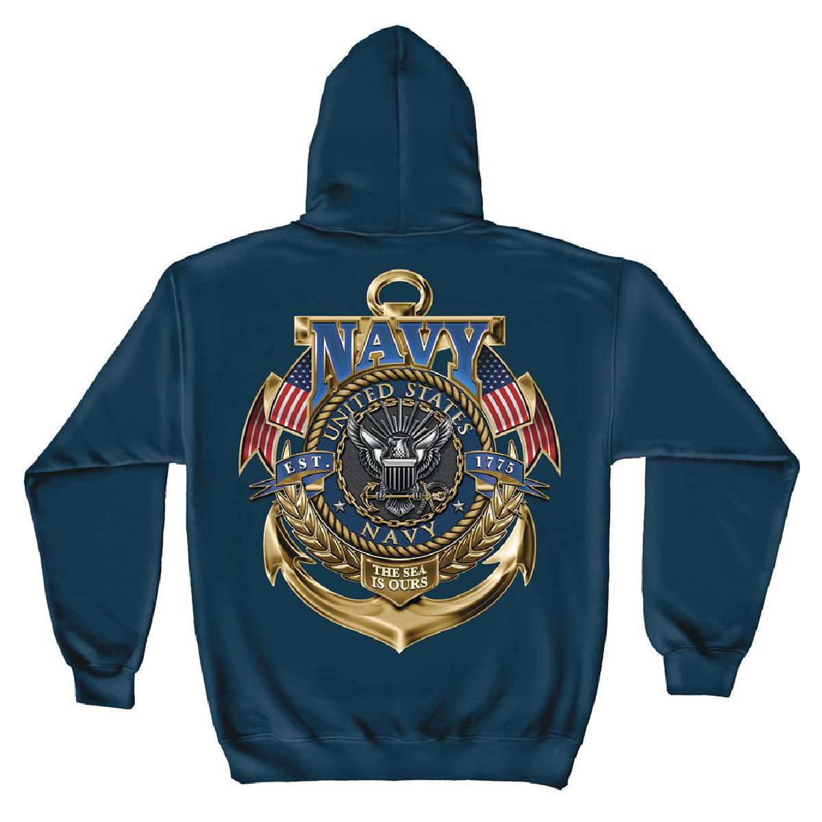 U.S. Navy The Sea Is Ours Hooded Sweatshirt by Erazor Bits, Navy Blue