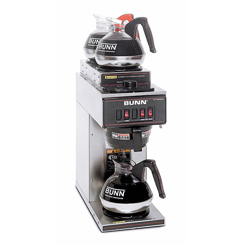 BUNN VP17-3, 12-Cup Commercial Coffee Brewer with 3 Warmers, 2 upper/1 lower, Stainless Steel, 13300.0004