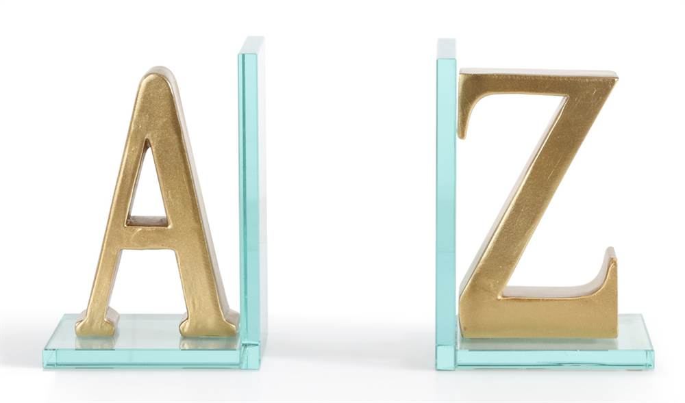 A to Z Bookend in Gold Finish by Danya B.