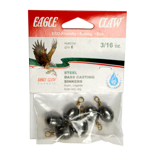 Eagle Claw Bass Casting Removable Split Shot, Steel