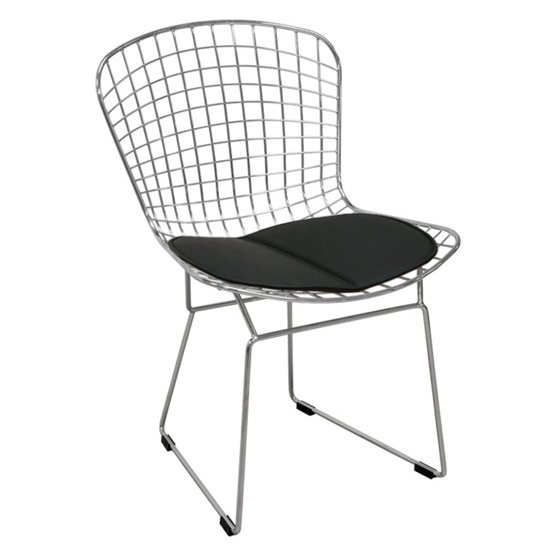 Modern Chrome Wire Dining Side Chair with Faux Leather