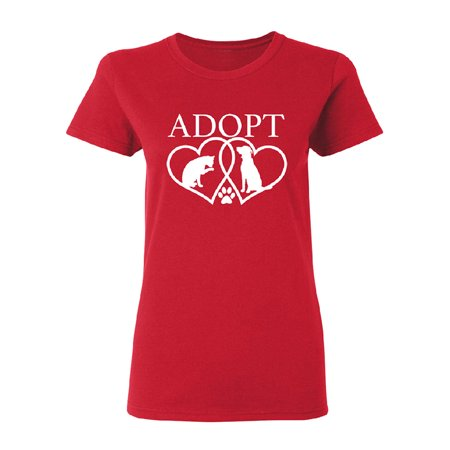 Adopt Heart Dog & Cat Best Friends Women's T-shirt Souvenir