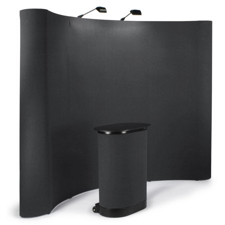 10-foot-wide Curved Pop-Up Trade Show Portable Display Booth with Podium Travel Case - Black (TEPUVF10BK)