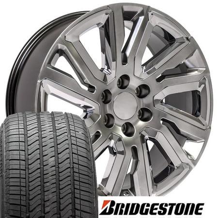 22 Inch Black And Chrome Rims - OE Wheels 22 Inch Fits Chevy Silverado High Country CV37 22x9 Hyper Black w/ Chrome Rim with Bridgestone Tires SET