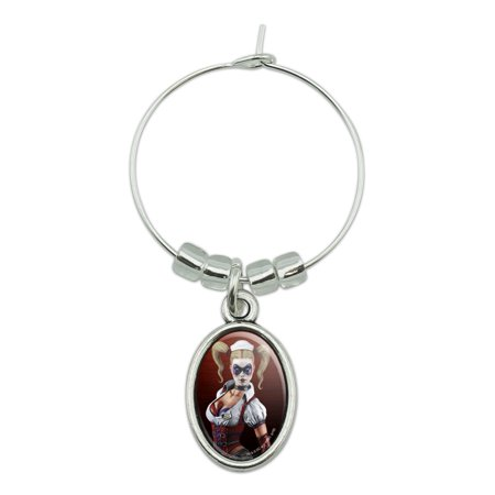 Harley Quinn Glasses (Batman Arkham Asylum Video Game Harley Quinn Wine Glass Oval Charm Drink)