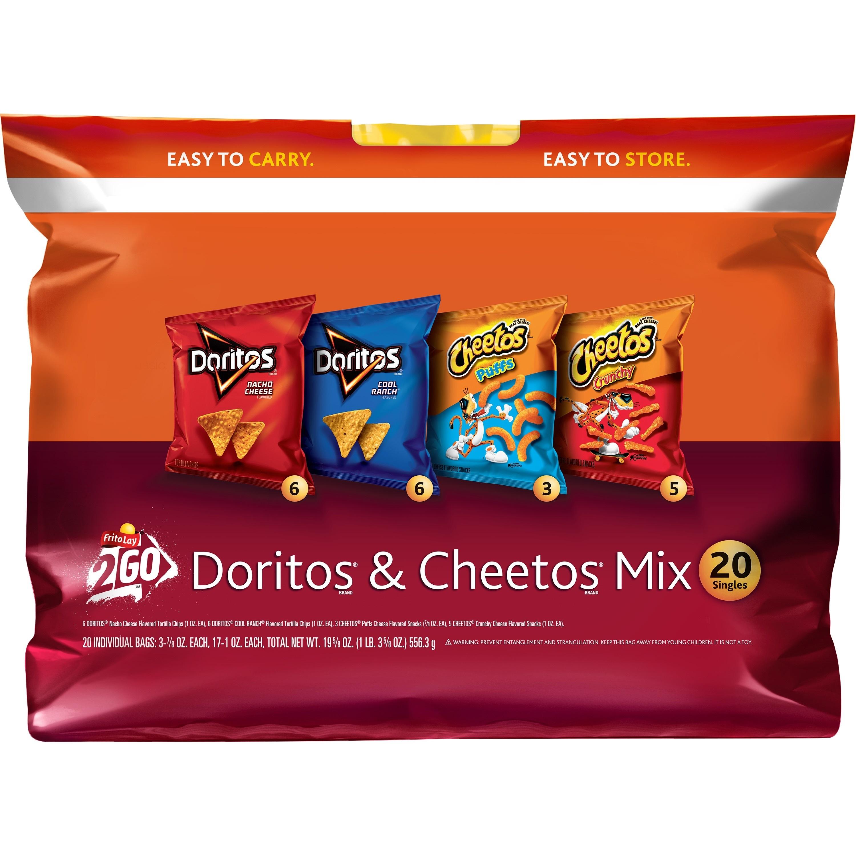 (2 Pack) Frito-Lay Doritos & Cheetos Mix Variety Pack, 0.75 Oz - 1 Oz, 20 Ct