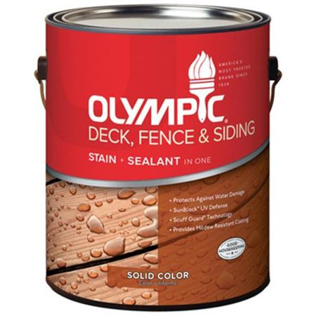 Olympic/Ppg Architectural Fin 53203A/01 Deck, Fence & Siding Stain & Sealant, Exterior, Latex, Navajo Red, (Siding Latex)