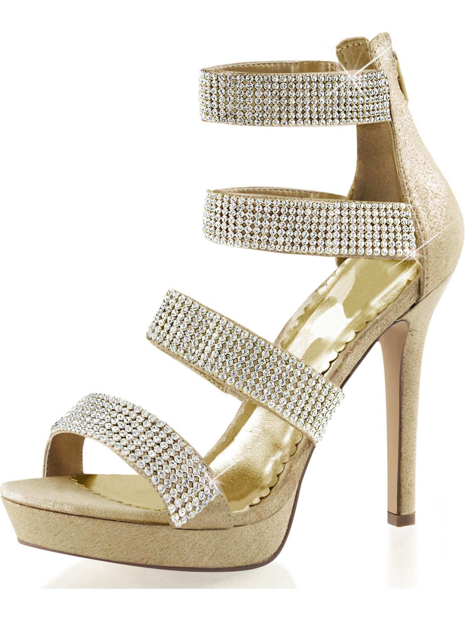 fe489428bb8 SummitFashions - Womens Gold Strappy Heels Platform Sandals Rhinestones  Shoes 4 3 4 Inch Heels Size  5 - Walmart.com