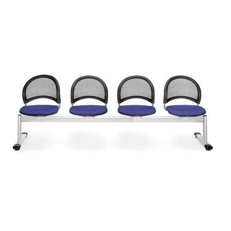 334 2210 Group Seating Furniture Star Moon Series 1000 Lbs 4 Unit Durable Beam Base Triple Curve Design Royal Blue 4 Seats