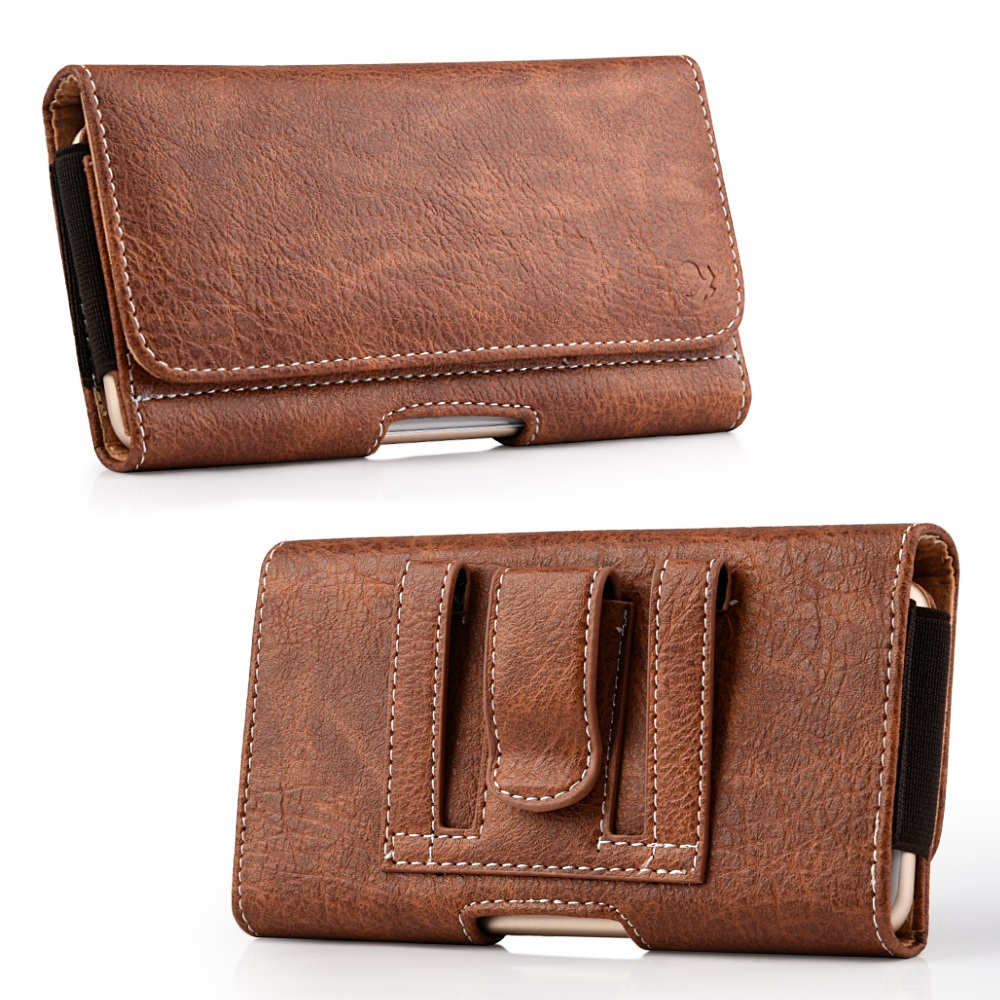 Luxmo Wallet Series Case for Alcatel TETRA - PU Leather Phone Belt Holster Carry Pouch with Card Slots/Coin Holders and Atom Cloth for Alcatel TETRA - Brown