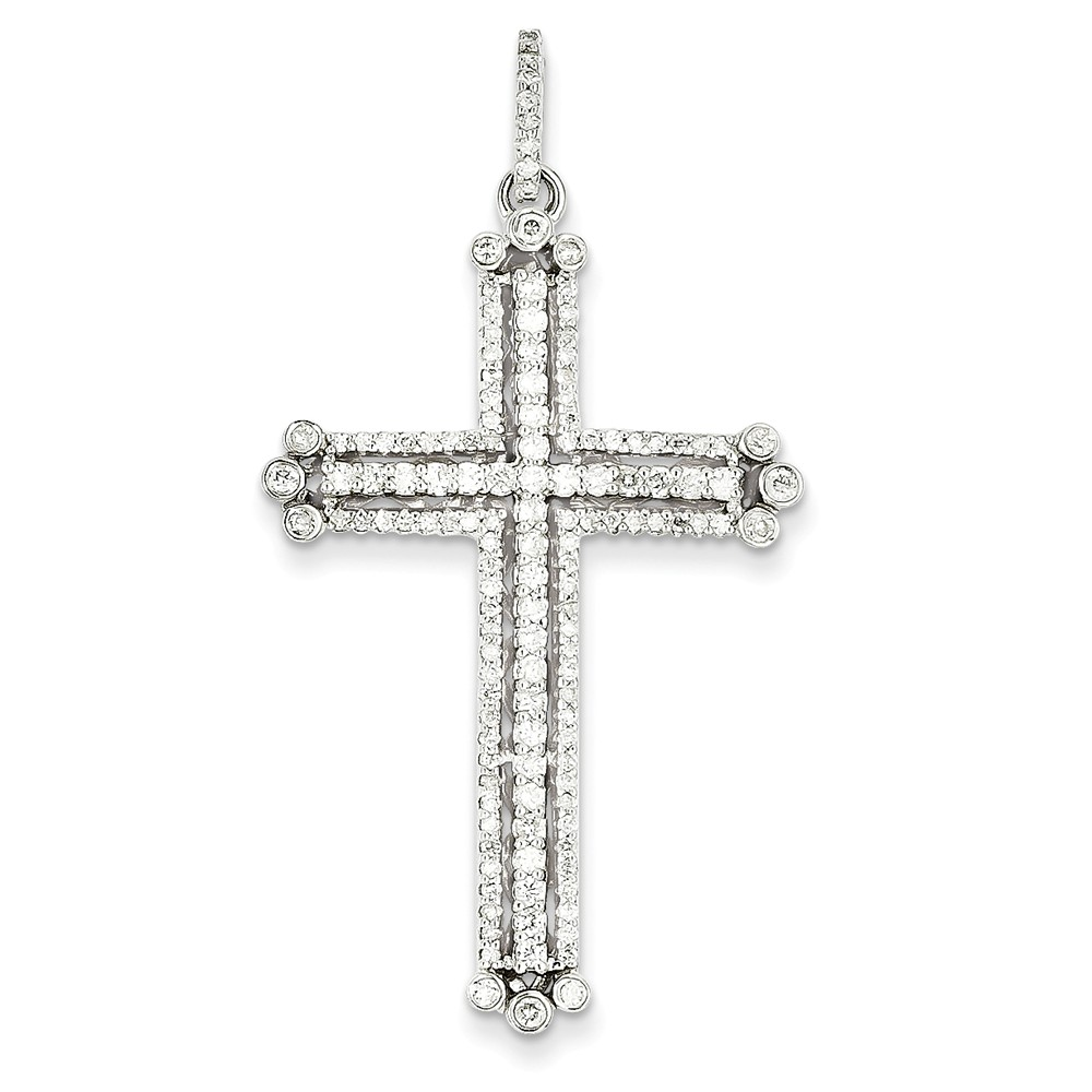 14k White Gold Diamond Budded Cross Pendant. Carat Wt- 0.94ct