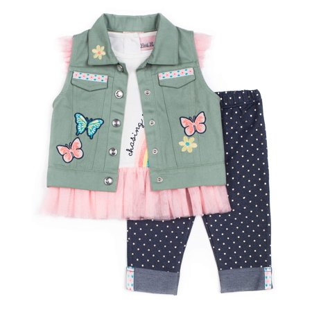 Twill Vest, Tulle Tee and Knit Denim Legging, 3-Piece Outfit Set (Little Girls) - Greek Girl Outfit