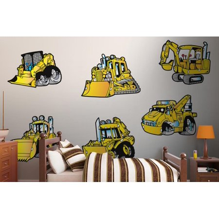 Wallmonkeys Monster Construction Vehicle Peel and Stick Wall Decals Mural WM351837 (48 in W x 32 in
