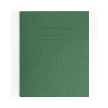 Rhino Exercise Book, 8 x 6.5 Inches, 48 page, 7mm squares, Green Cover (Pack of 10) (Rubino Green)