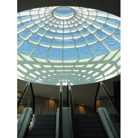 Canvas Print Center Glass Roof Mall Shopping Centre Escalator Stretched Canvas 10 x (Mall Glasses)
