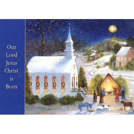 LPG Greetings Holy Night Nativity and Church : Mary Ann Vessey Box of 18 Religious Christmas Cards - Religious Christmas Card Sayings