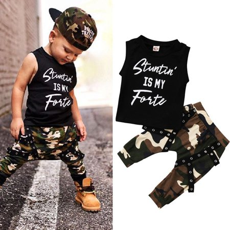 Toddler Kids Baby Boys Summer Tops T-shirt Camo Pants 2Pcs Outfits Set Clothes