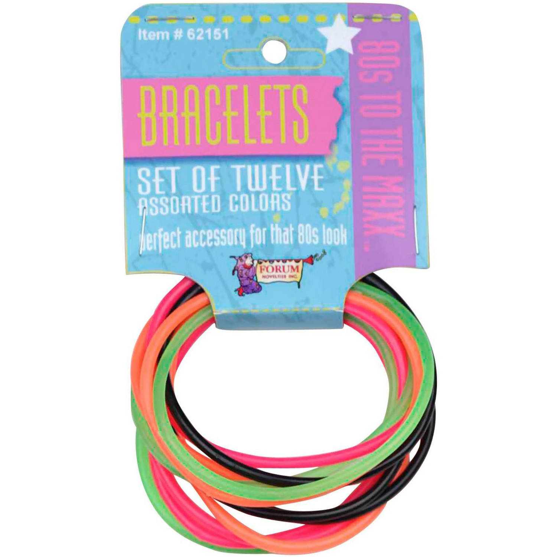 80s Bracelets Halloween Accessory, Set of 12