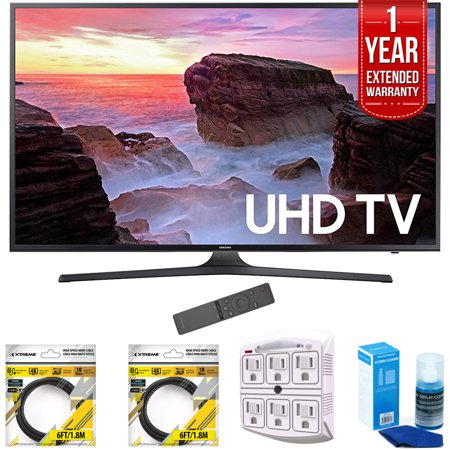 Samsung 55   4K Ultra Hd Smart Led Tv 2017 Model Un55mu6300fxza With 2X 6Ft High Speed Hdmi Cable  Stanley 6 Outlet Surge Adapter  Screen Cleaner For Led Tvs   1 Year Extended Warranty