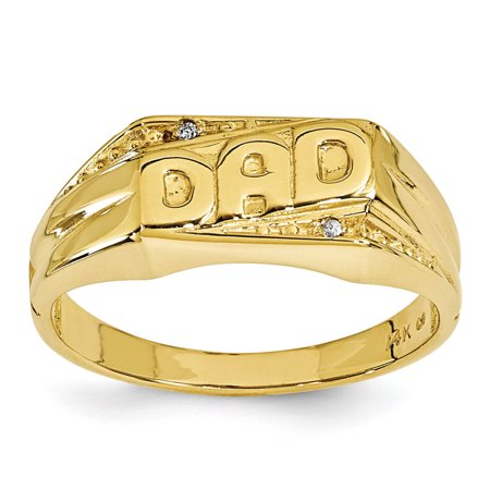 14k Yellow Gold G-H SI2 Quality Diamond men's DAD Ring