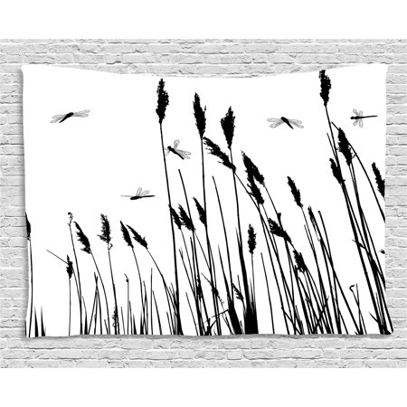 Dragonfly Tapestry, Wheat Field Autumn Agriculture Background Nature Harvest Bush Herbs Theme Art, Wall Hanging for Bedroom Living Room Dorm Decor, 80W X 60L Inches, Black White, by Ambesonne