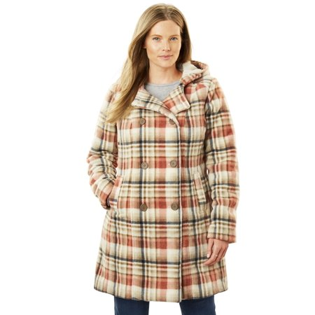 Plus Size Double-breasted Hooded Fleece Peacoat Plaid Print Vest