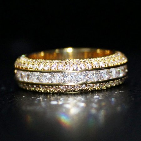 Princess Cut Channel Set Micro Pave CZ Eternity Band Ring in Gold