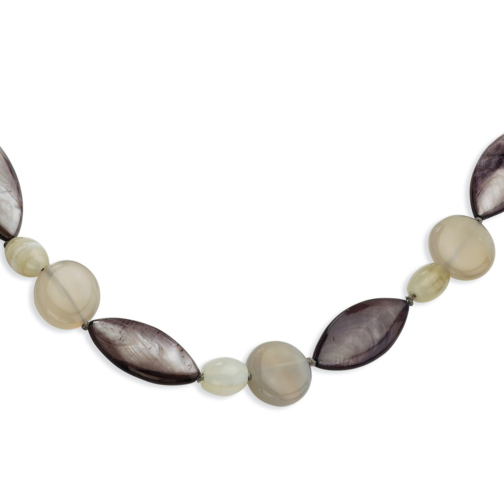 Sterling Silver 17in Grey Agate/Dk. Grey Mother of Pearl/Sardonyx Necklace