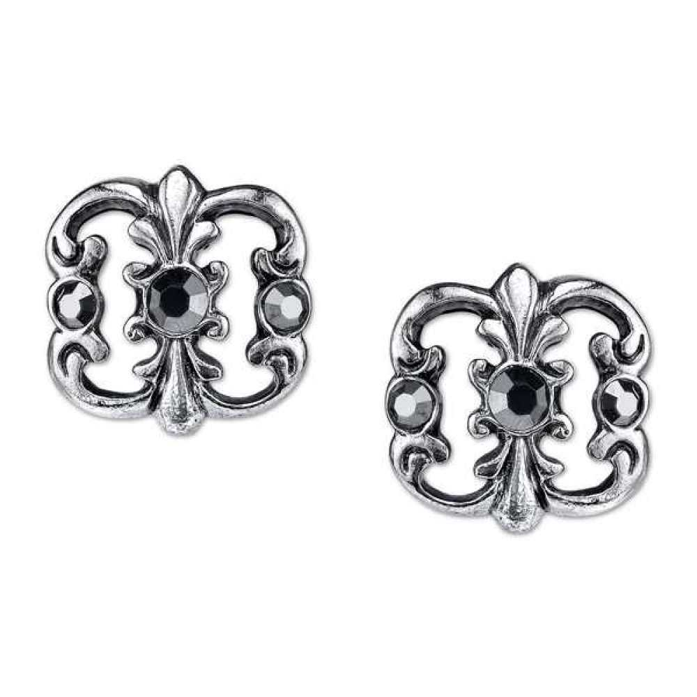 1928 Jewelry Antique Silver-Toned Hematite Color Vintage Costume Stud Earrings