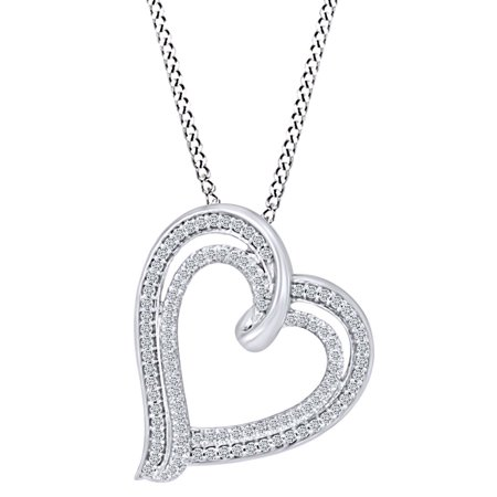 1/2 CT Round White Natural Diamond Double Row Tilted Heart Pendant Necklace 14k White Gold Over Sterling Silver With 18
