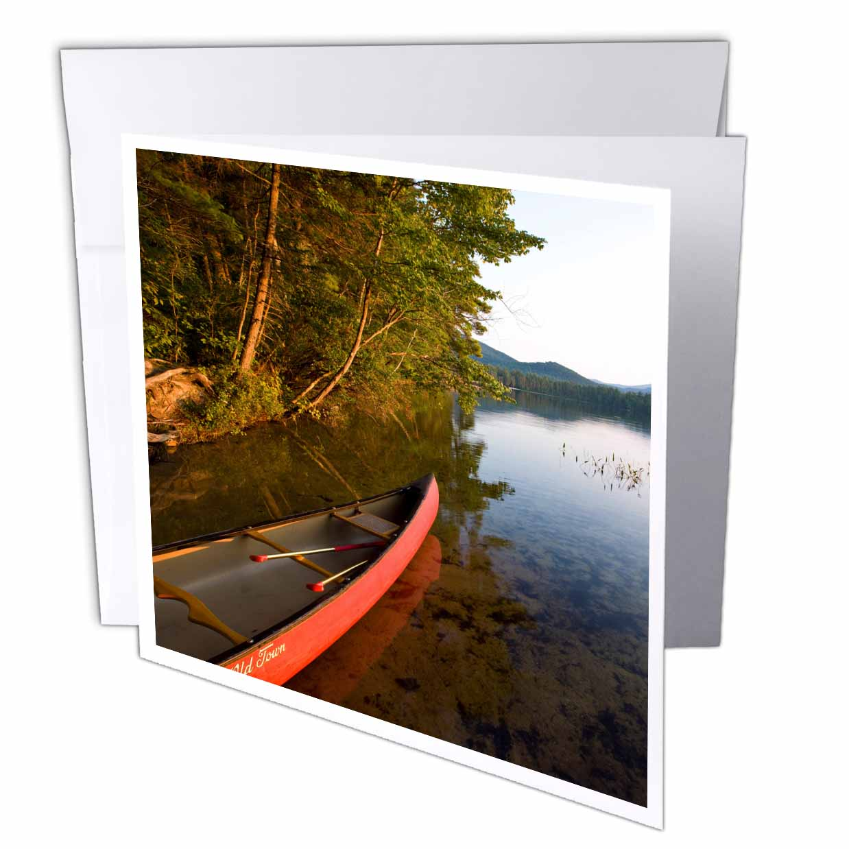 3dRose Canoe, White Lake State Park, New Hampshire - US30 JMO1541 - Jerry and Marcy Monkman, Greeting Cards, 6 x 6 inches, set of 12