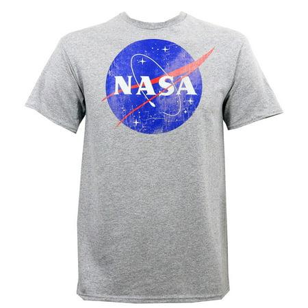 Nasa Men's Distressed Logo Slim-Fit T-Shirt Heather (Distressed Logo Heather)