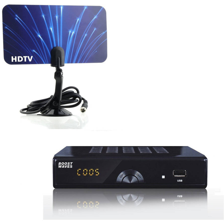 Digital Television Converter Box with HD Flat Antenna and Scheduled Recording DVR, 1080p, HDTV, HDMI