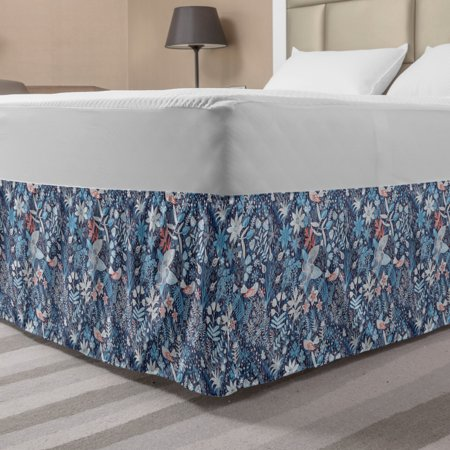 Jacobean Bed Skirt, Spring Themed Floral Damask with Petals Oriental Motif on Stripes, Elastic Bedskirt Dust Ruffle Wrap Around for Bedding Decor, 4 Sizes, Slate Blue Multicolor, by Ambesonne